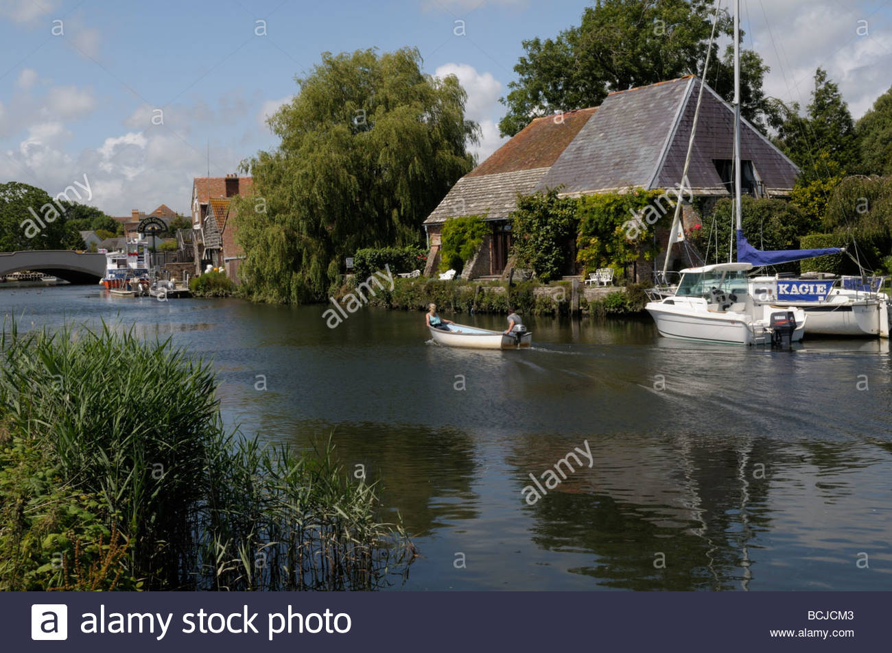 Lazy Days on the River Frome, Wareham, Dorset, England, UK - Stock Image