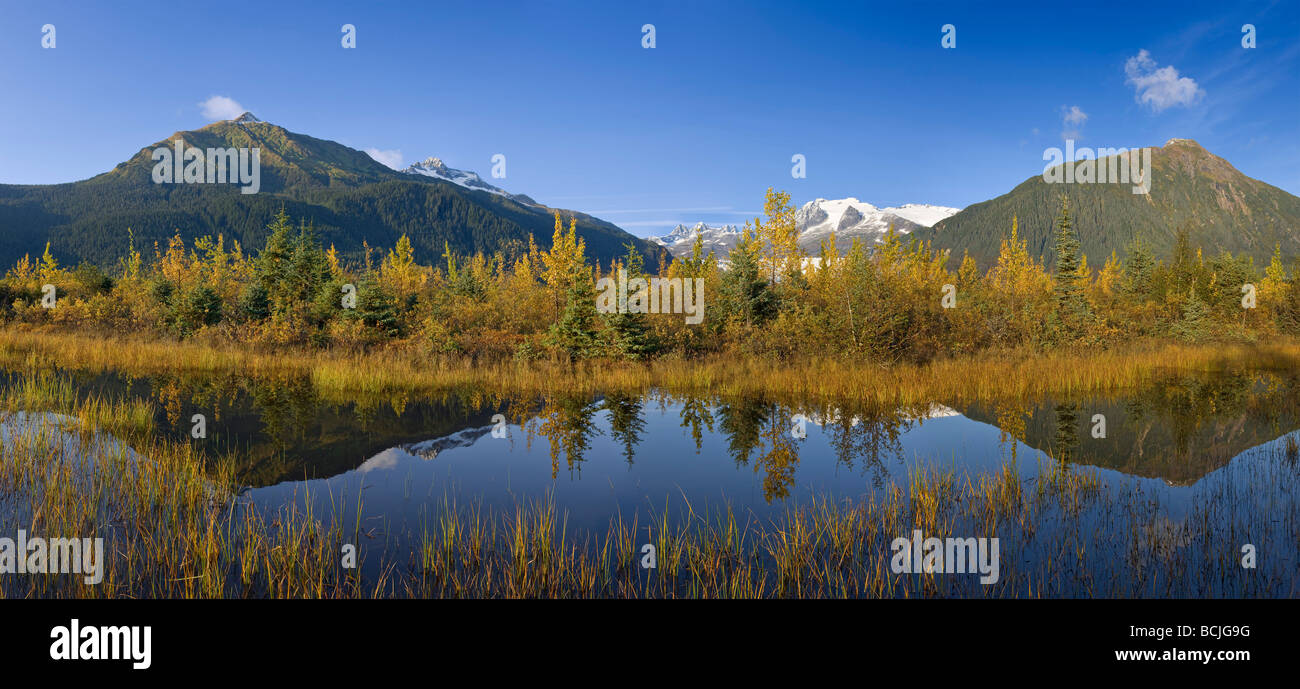 Autumn scene of changing trees reflecting in Mendenhall Lake with Coastal Mountains the background of Southeast - Stock Image