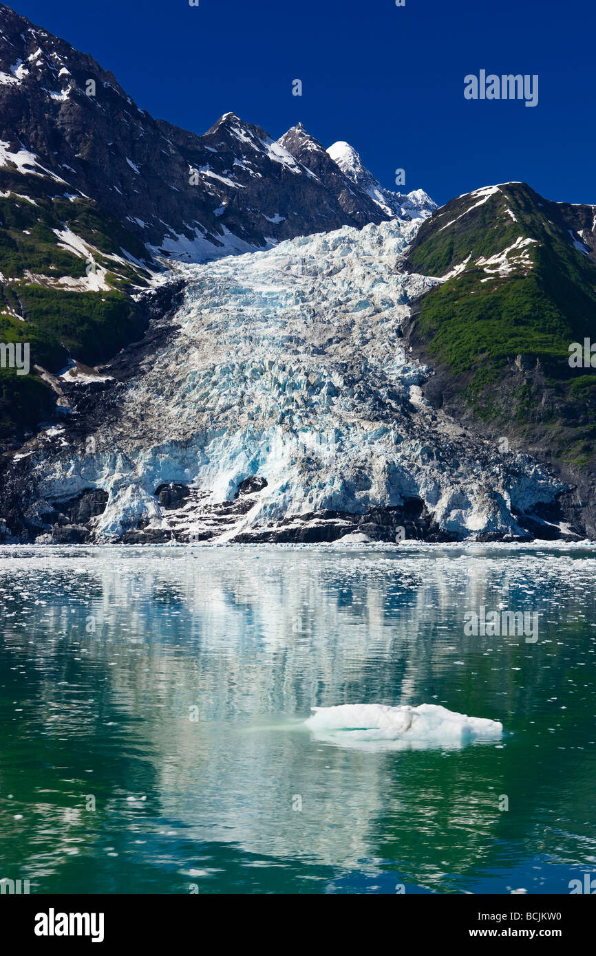 Serpentine Glacier in Harriman Fjord as seen from the deck on the Klondike Express tour boat, Prince William Sound, - Stock Image