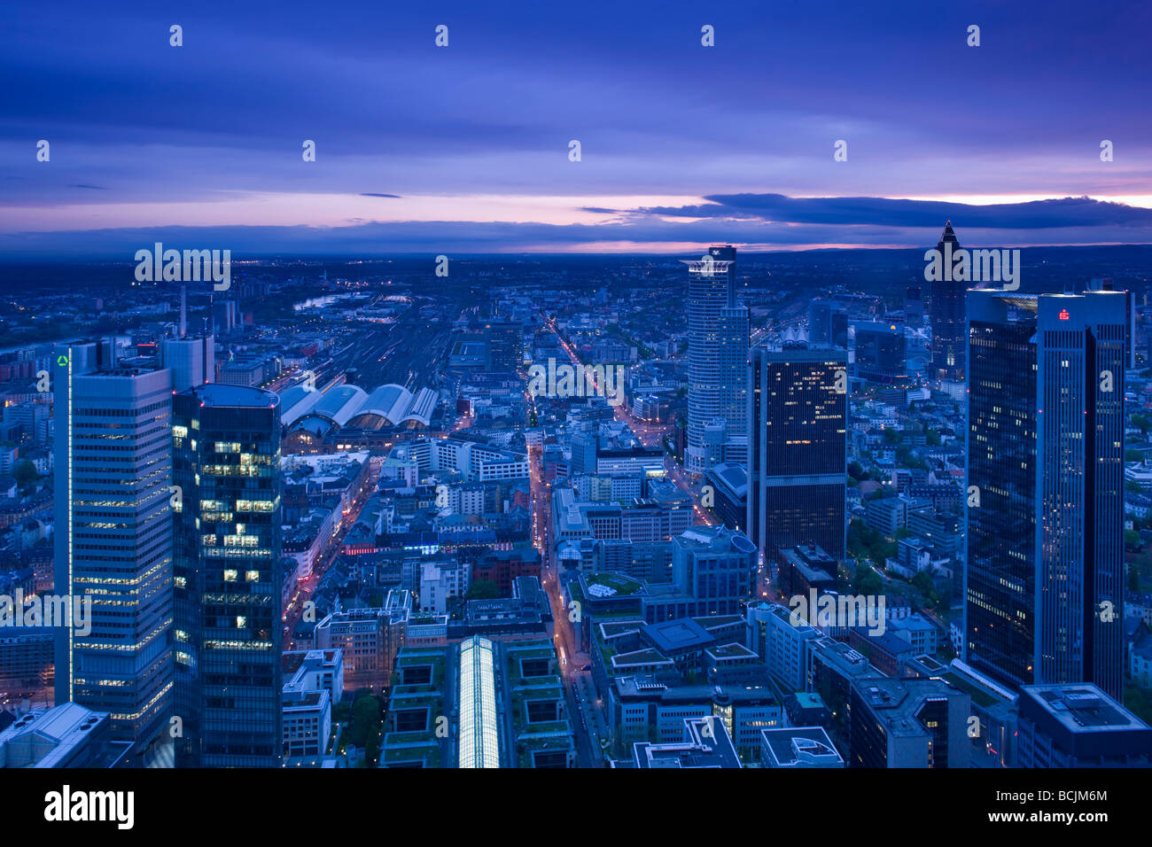 Germany, Hessen, Frankfurt-am-Main, view from the Main Tower, Financial District towers Stock Photo