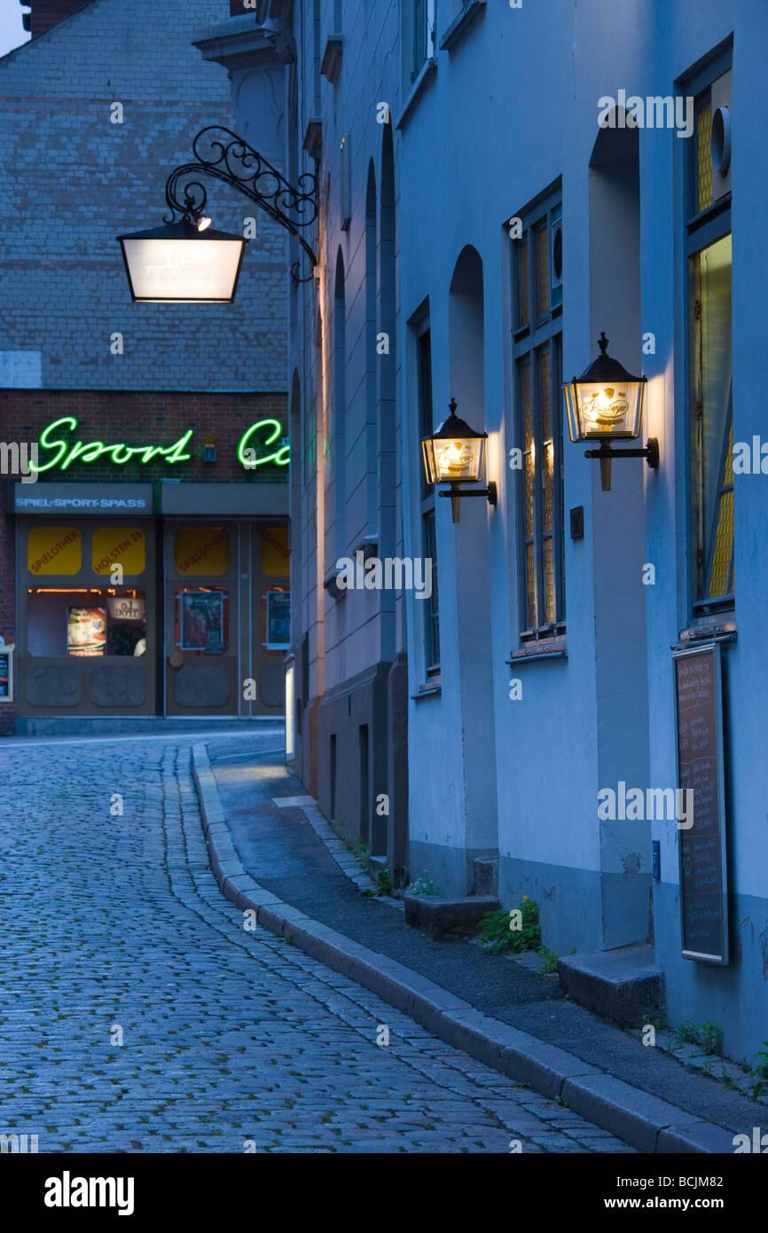 Germany, Schleswig-Holstein, Lubeck, Kleine Petersgrube street - Stock Image