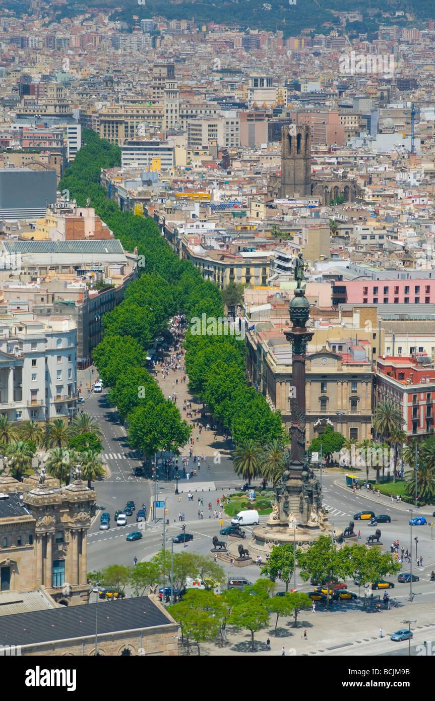 Spain, Barcelona, Barri Gortic (Gothic Quarter) and La Rambla - Stock Image