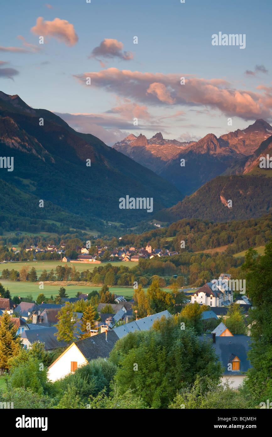 Village d'Aucun & Arrens-Marsous, Hautes- Pyrenees, France Stock Photo
