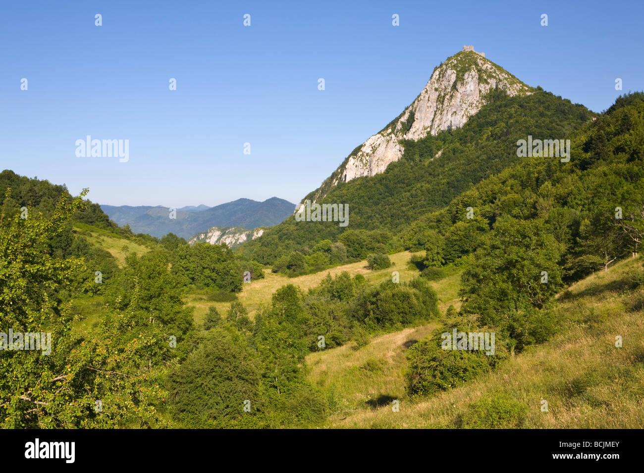 Montsegur, Languedoc-Midi-Pyrénées, Ariege, France - Stock Image