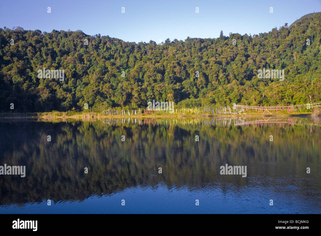 India, Sikkim, Khecheopalri Lake, - Holy lake highly revered by Sikkimese Buddhists - Stock Image