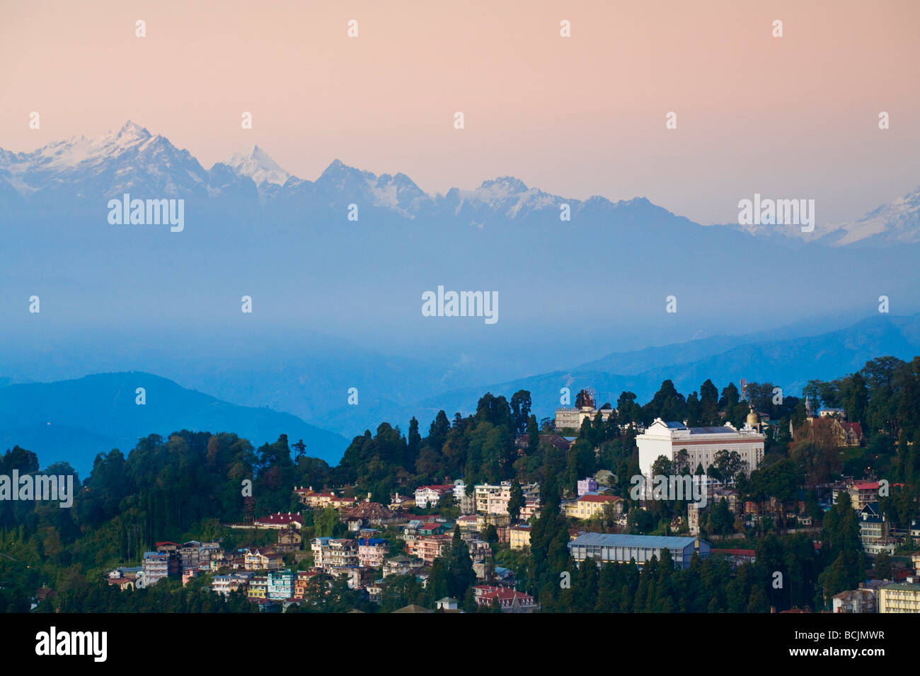 India, West Bengal, Darjeeling, View of City center - Stock Image