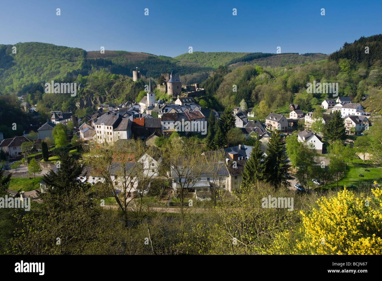 Luxembourg, Sure River Valley, Esch-sur-Sure, Town View - Stock Image