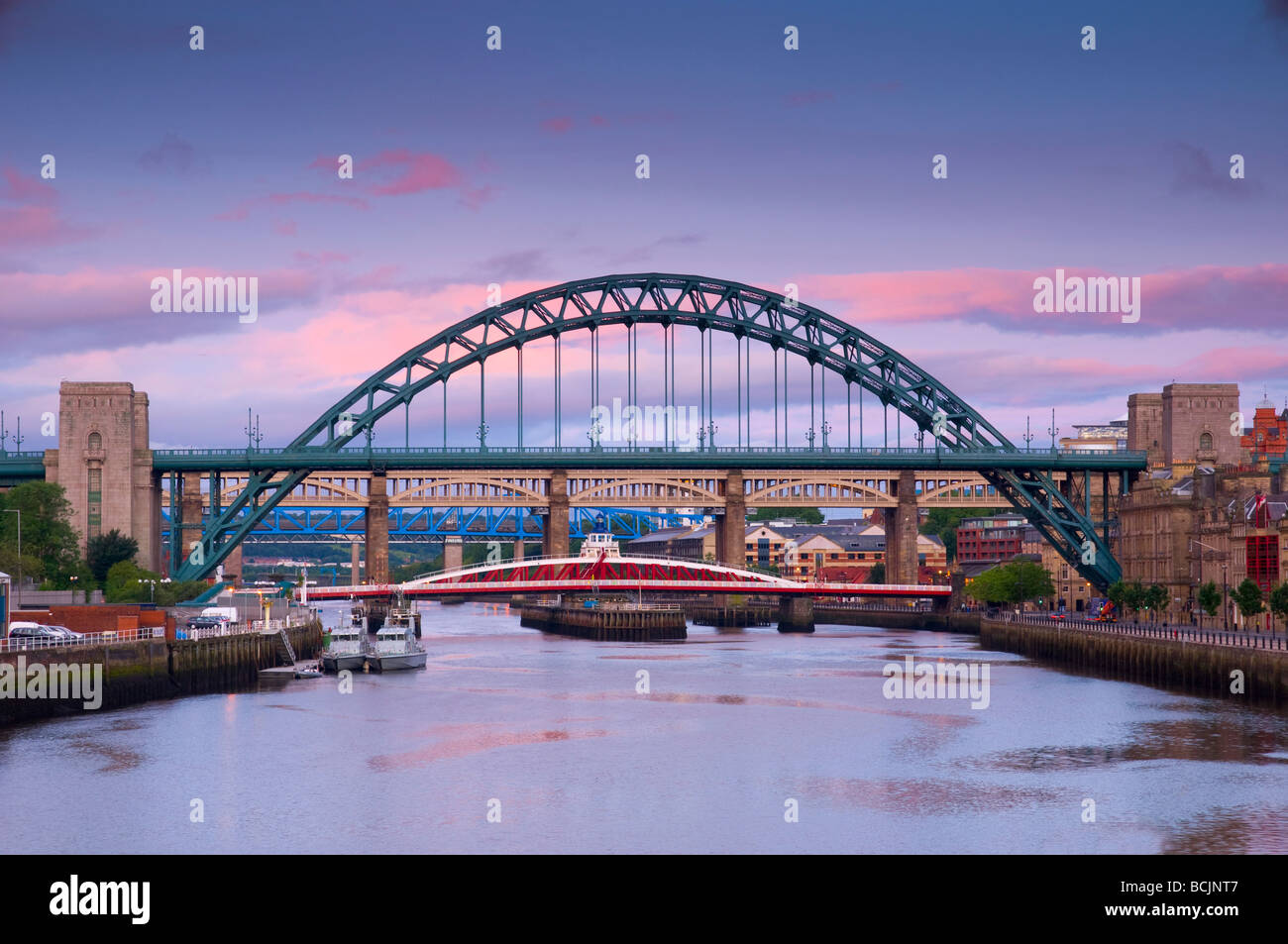 UK, England, Tyne and Wear, Newcastle and Gateshead, The Tyne and Swing Bridges over the River Tyne. - Stock Image