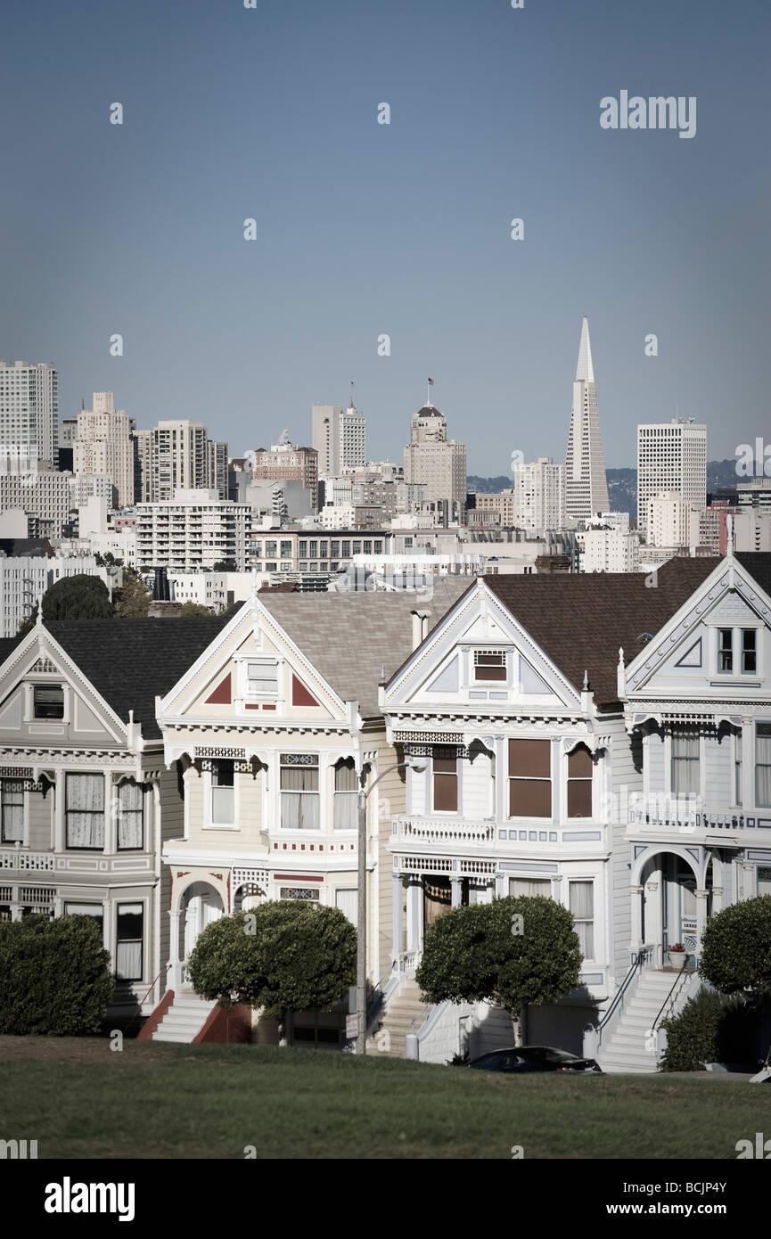 USA, California, San Francisco, Alamo Square, Victorian Houses - Stock Image