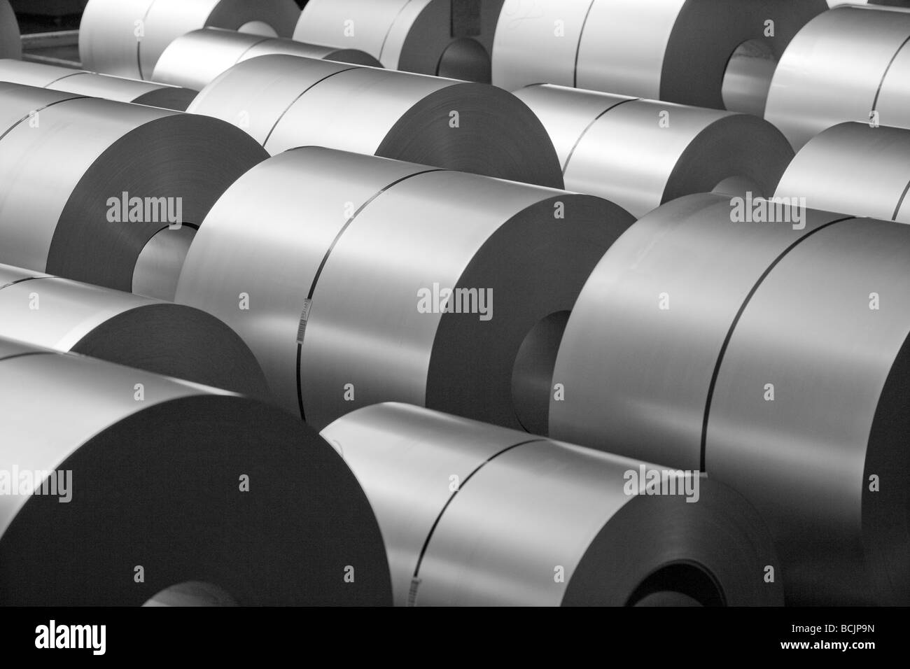 Steel at steel coil bracket - Stock Image