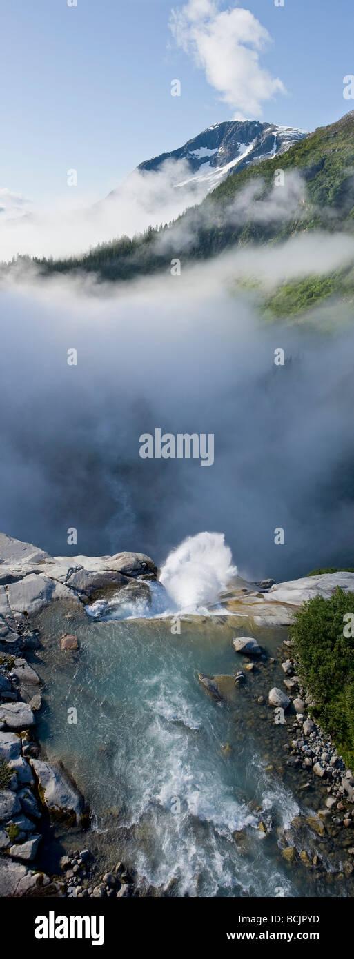 Vertical panorama of Sockeye Falls in Southeast Alaska - Stock Image
