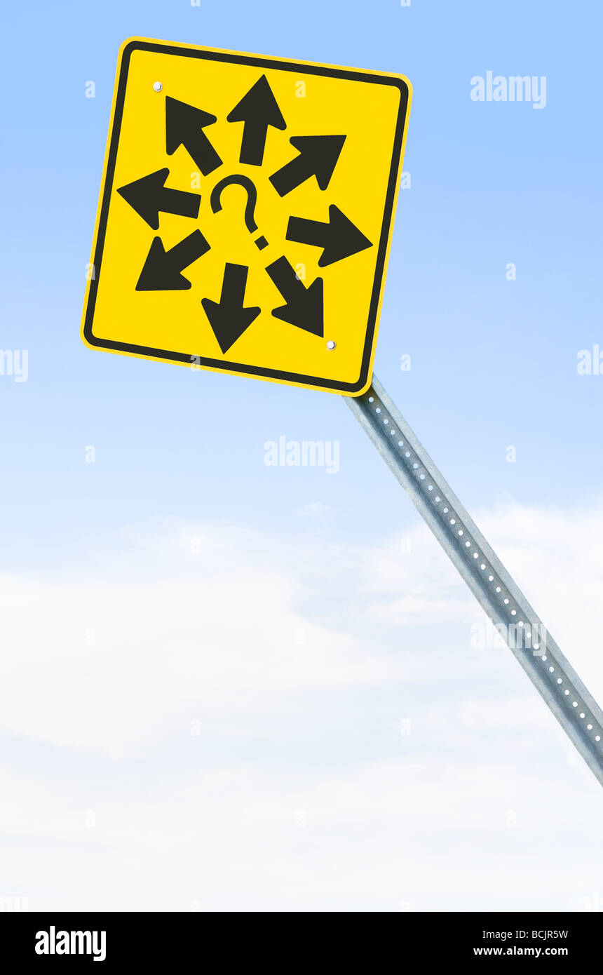 Sign with arrows and question mark - Stock Image
