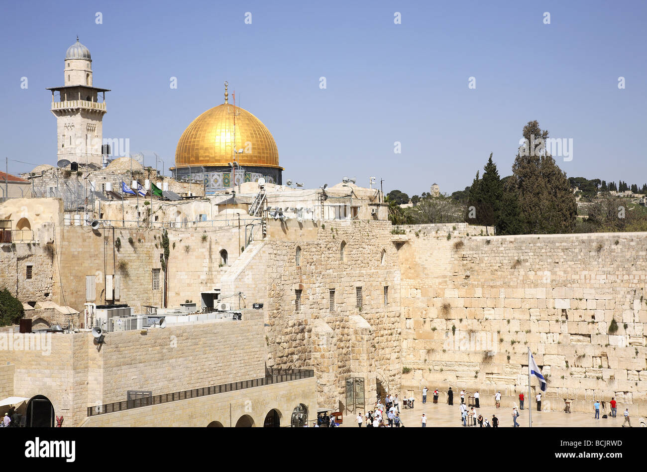 Wailing wall and dome of the rock jerusalem - Stock Image