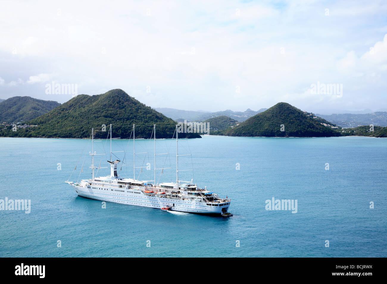 Schooner cruise ship in sea near st lucia - Stock Image