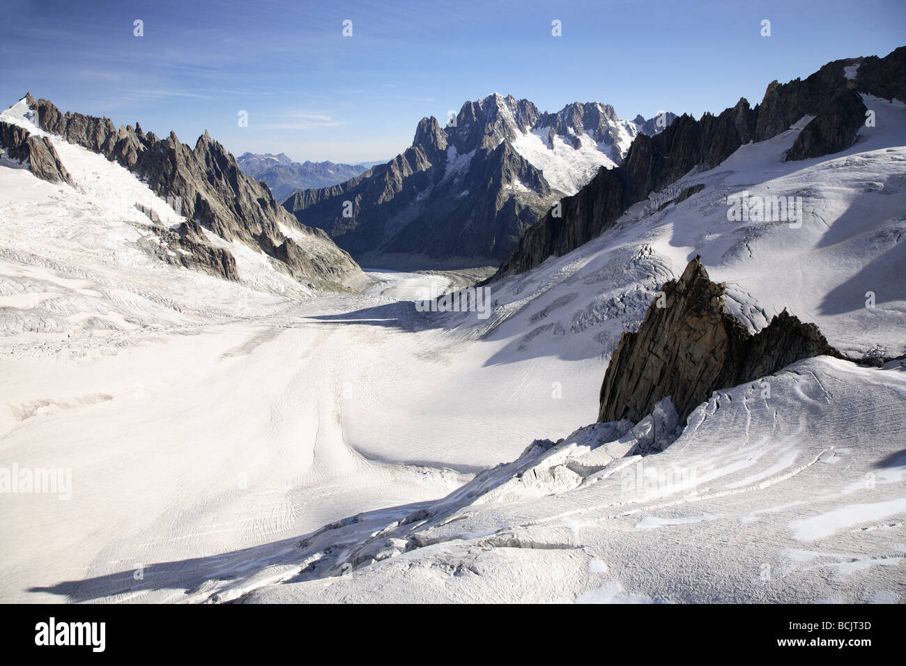 Mountains and glacier near mont blanc - Stock Image