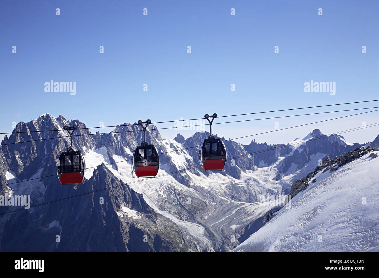 Cable cars in french alps near mont blanc - Stock Image