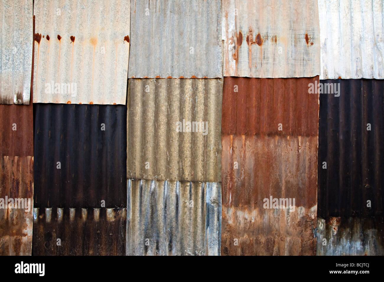 Corrugated iron wall - Stock Image