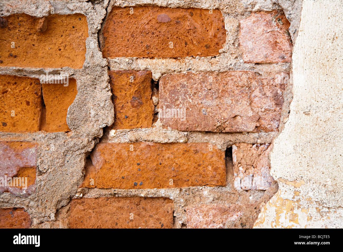 Close up of a broken wall - Stock Image