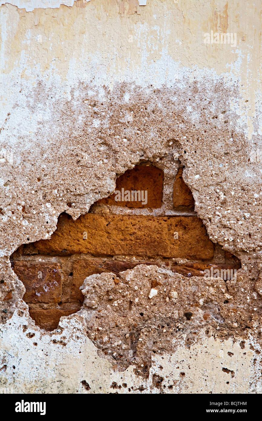 Broken brick wall - Stock Image