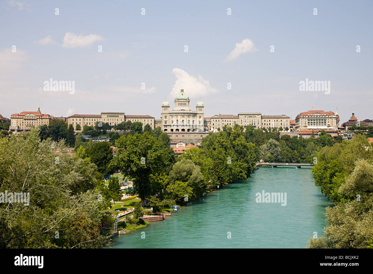 Federal building and river in berne - Stock Image