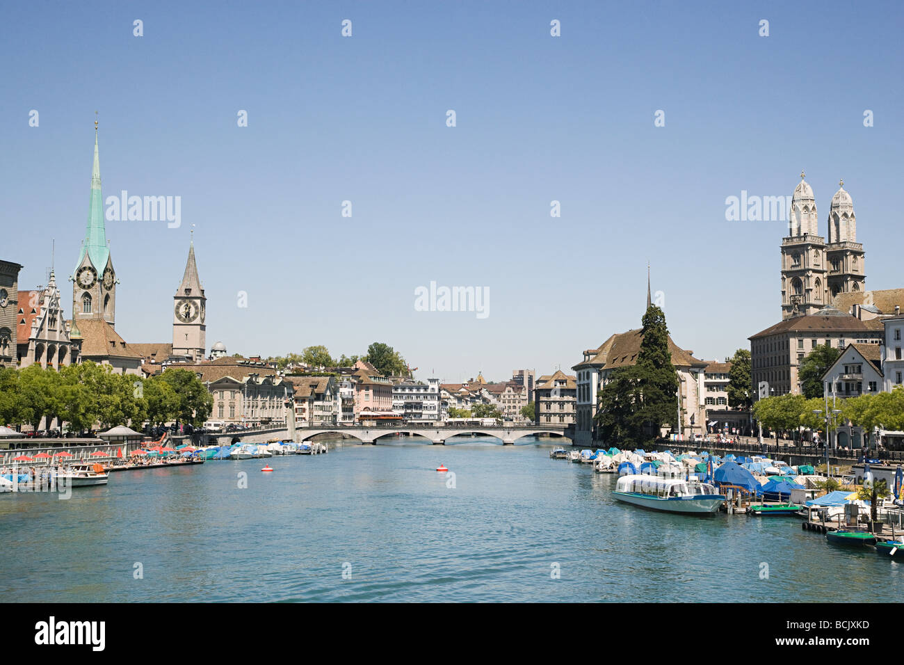 The river limmat in zurich - Stock Image