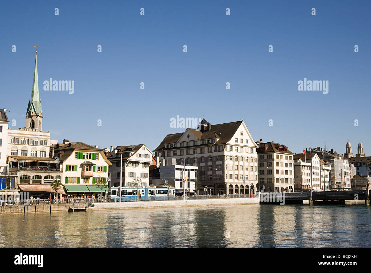 Architecture and the river limmat in zurich Stock Photo
