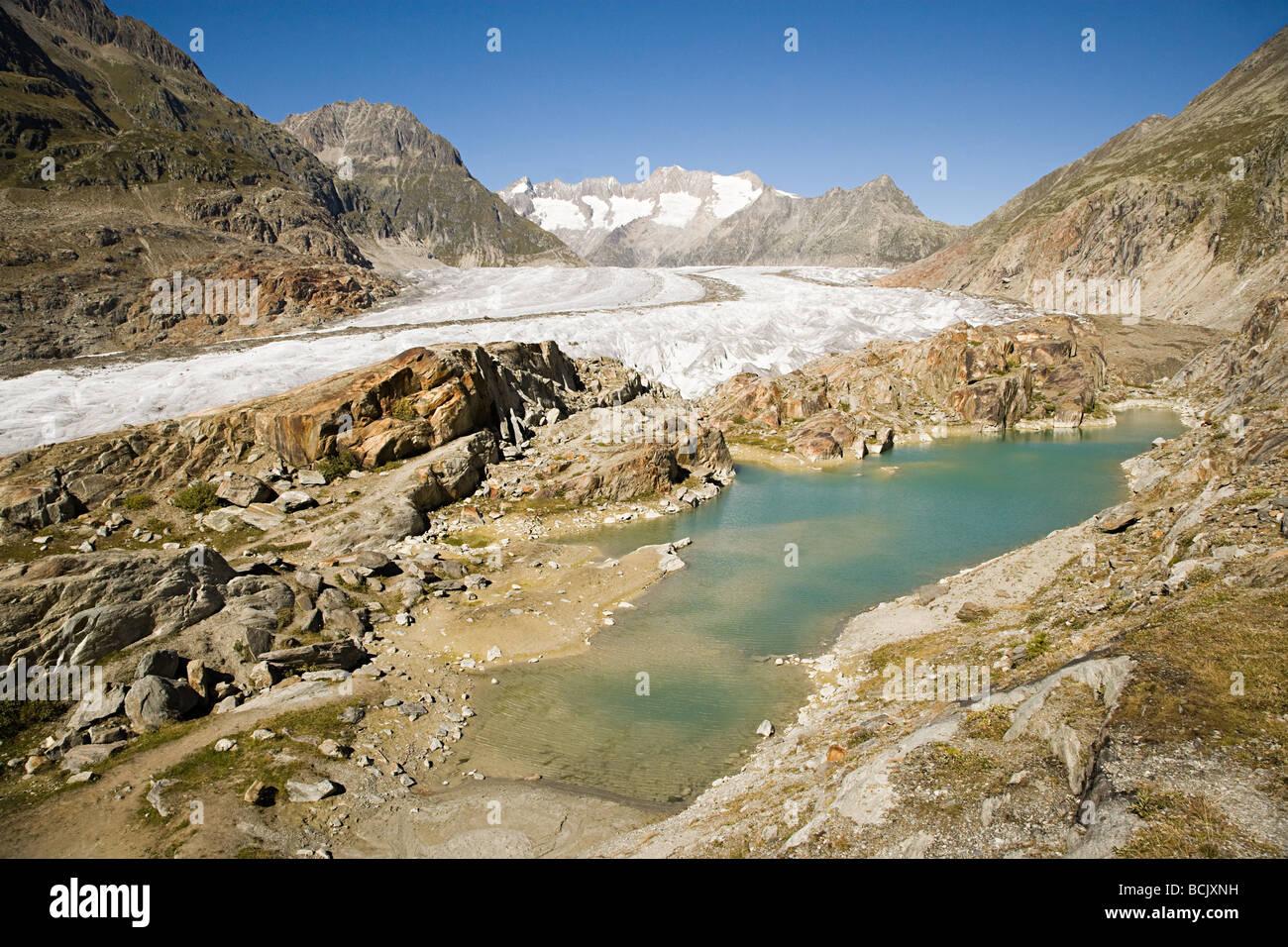 Aletsch glacier in switzerland Stock Photo
