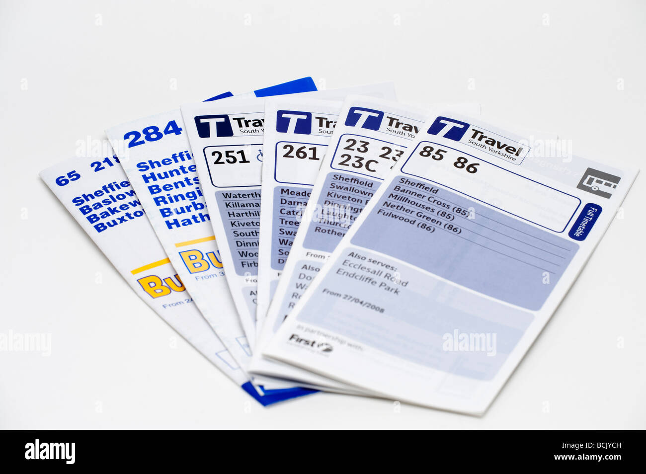 Bus timetable leaflets covering the 'Sheffield area' - Stock Image