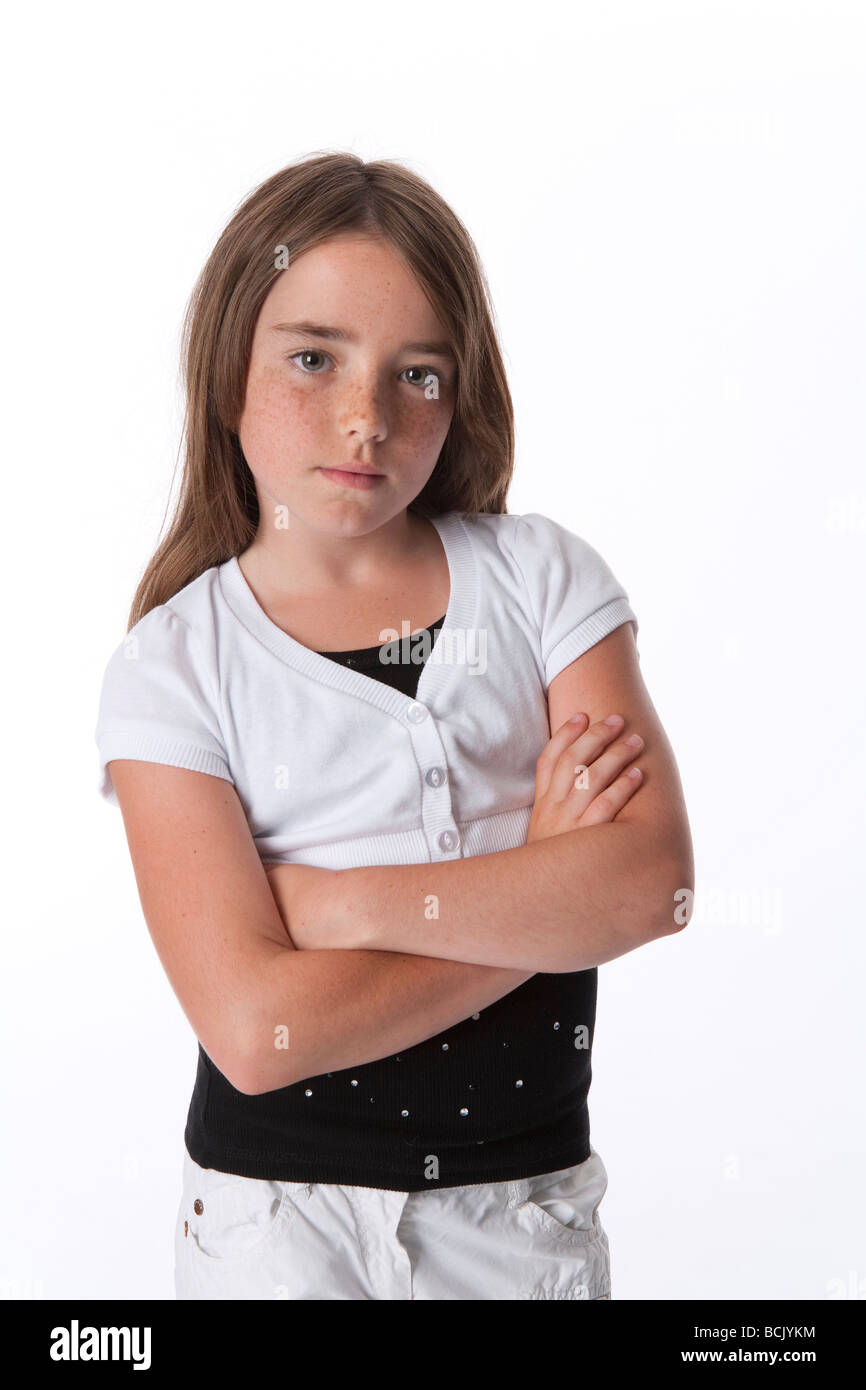 Portrait of a cool 10 year old girl - Stock Image
