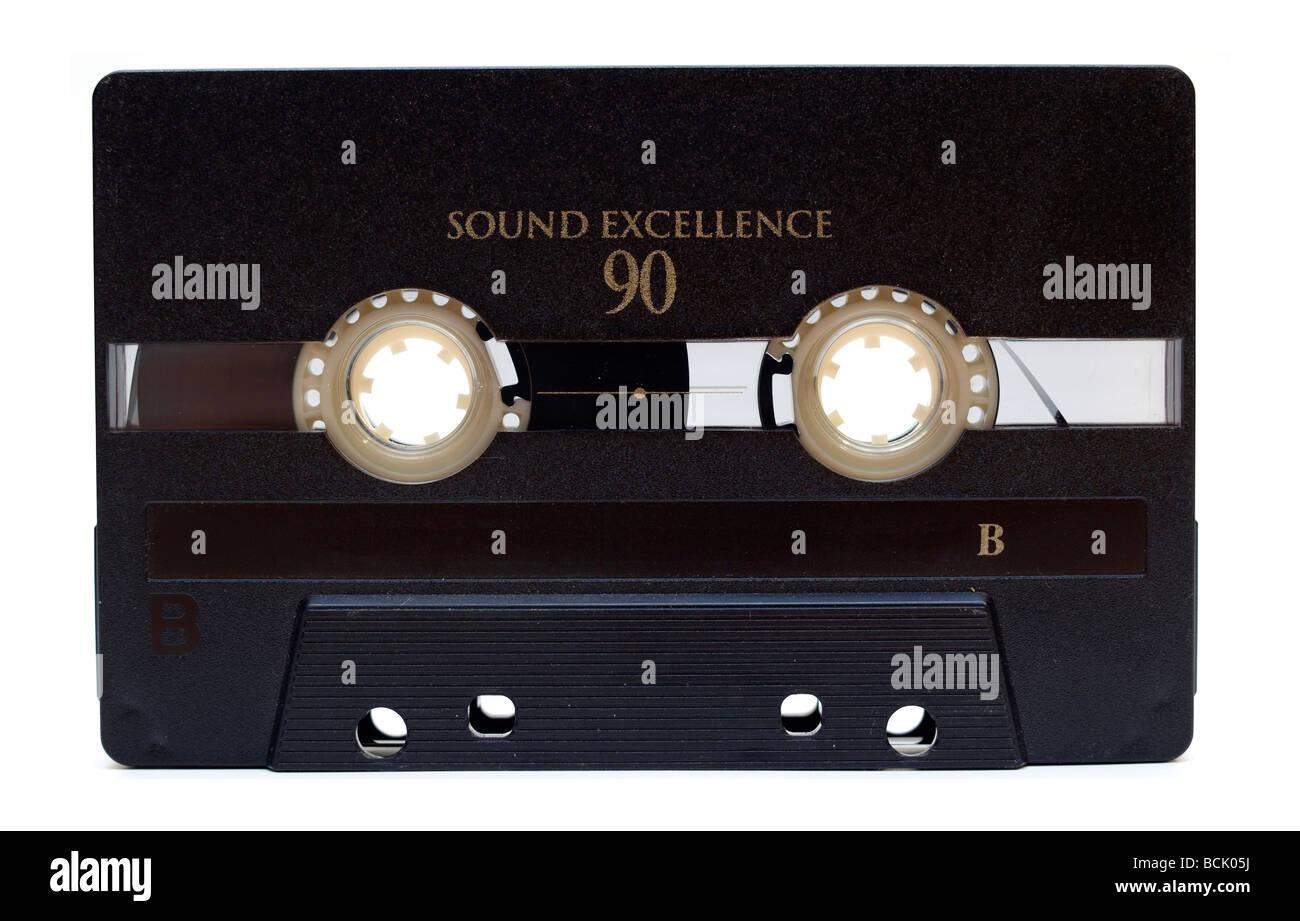old audio tape on white background - Stock Image