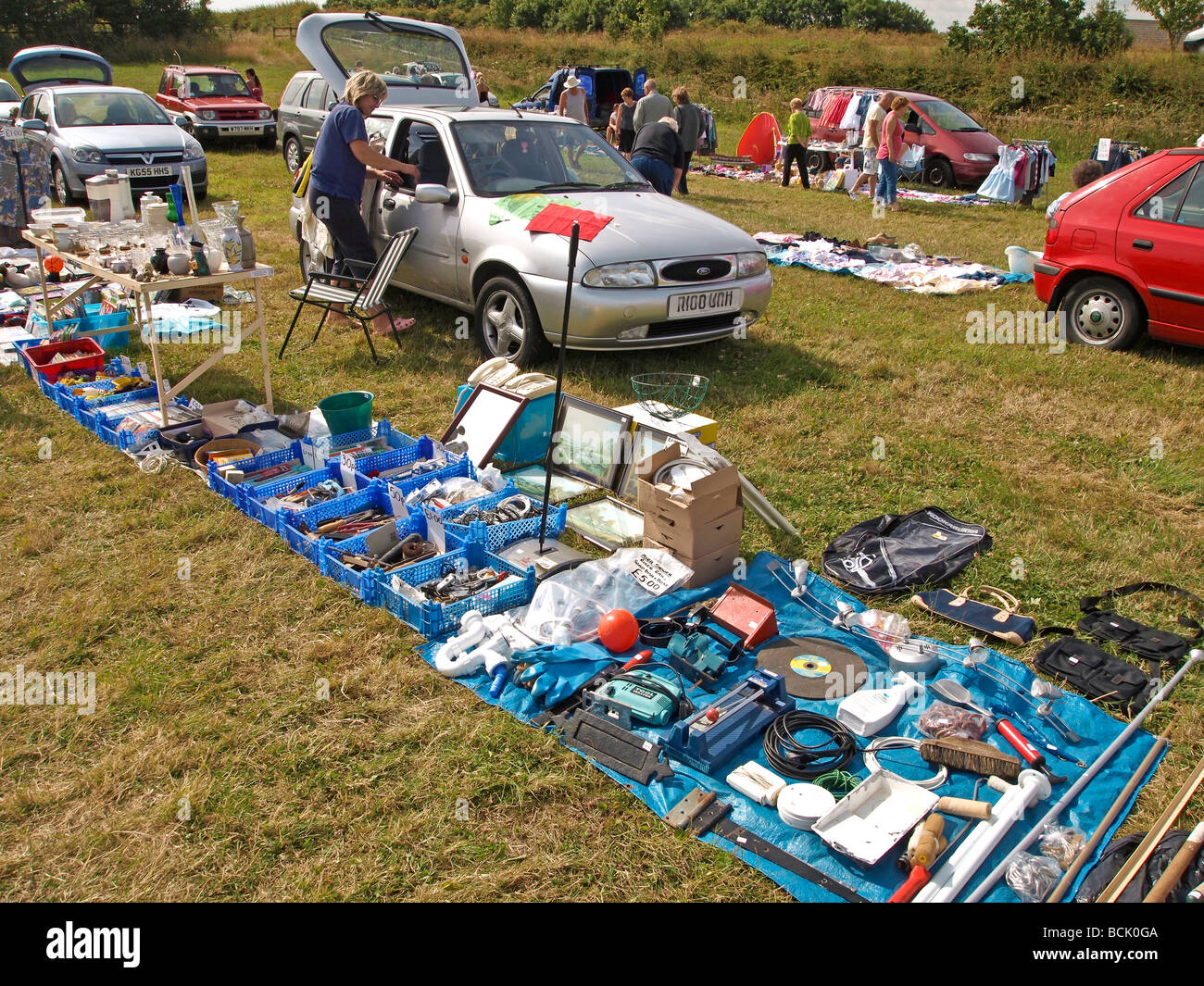 Car boot sale Yorkshire UK - Stock Image