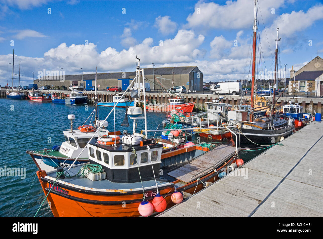 Kirkwall Harbour Orkney Scotland with fishing and pleasure boats on a sunny June day - Stock Image