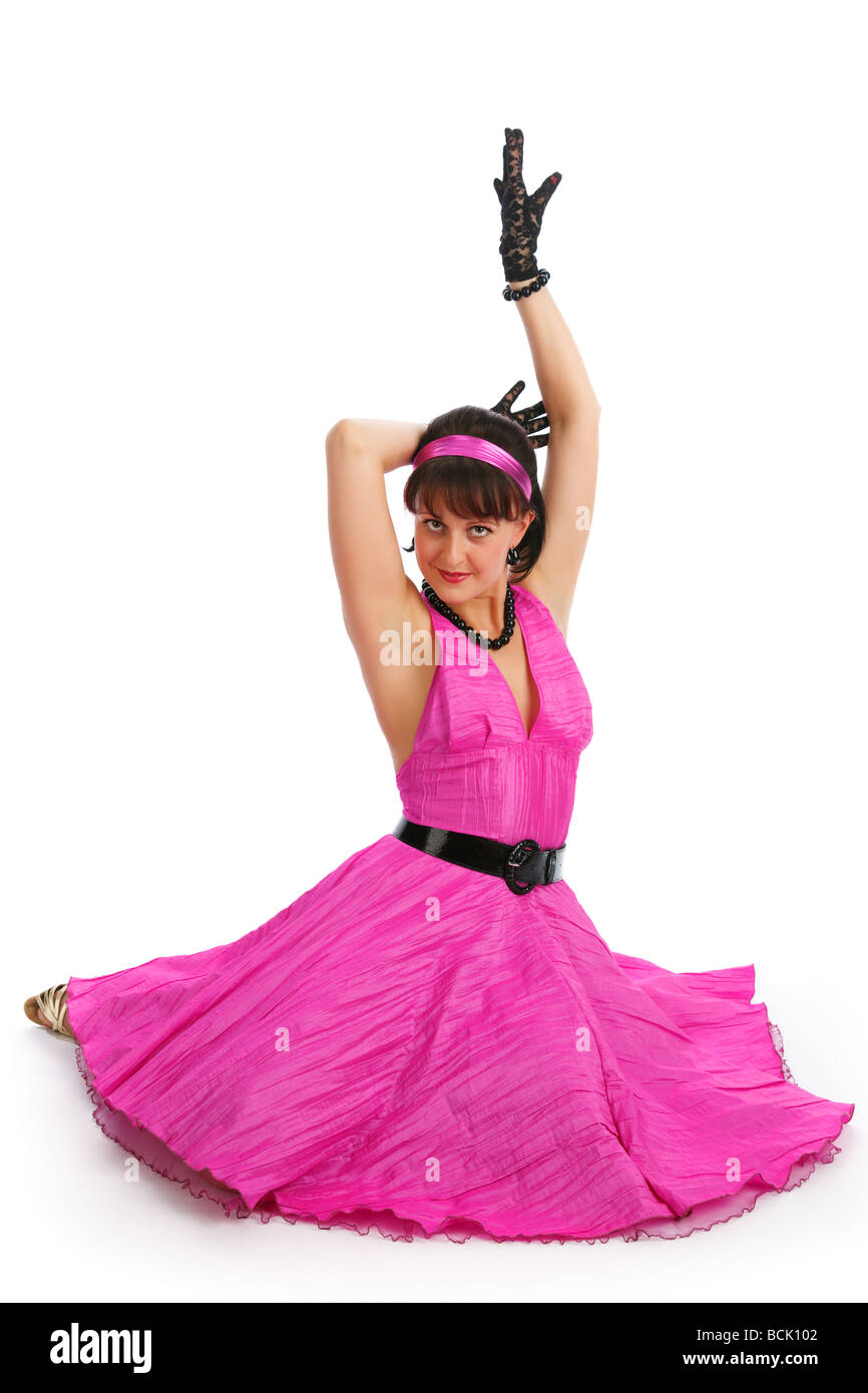 Beautiful young dancer 80 s style - Stock Image