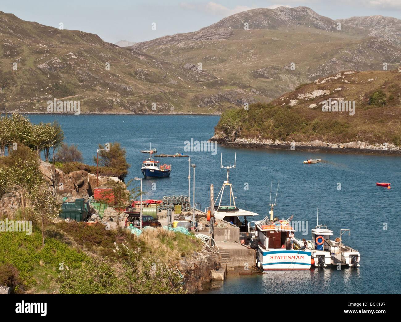 Kylesku Harbour West Highlands Scotland UK - Stock Image