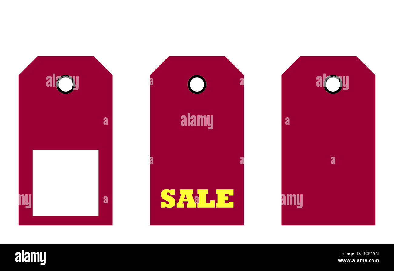 Set of three sale tags isolated on white background - Stock Image