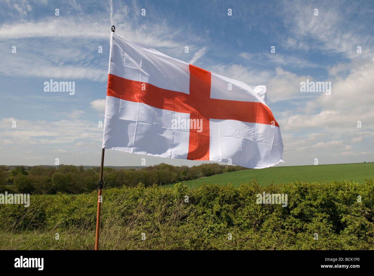 9d070d17 Red cross on a white background The English flag of St George in the Kent  countryside England