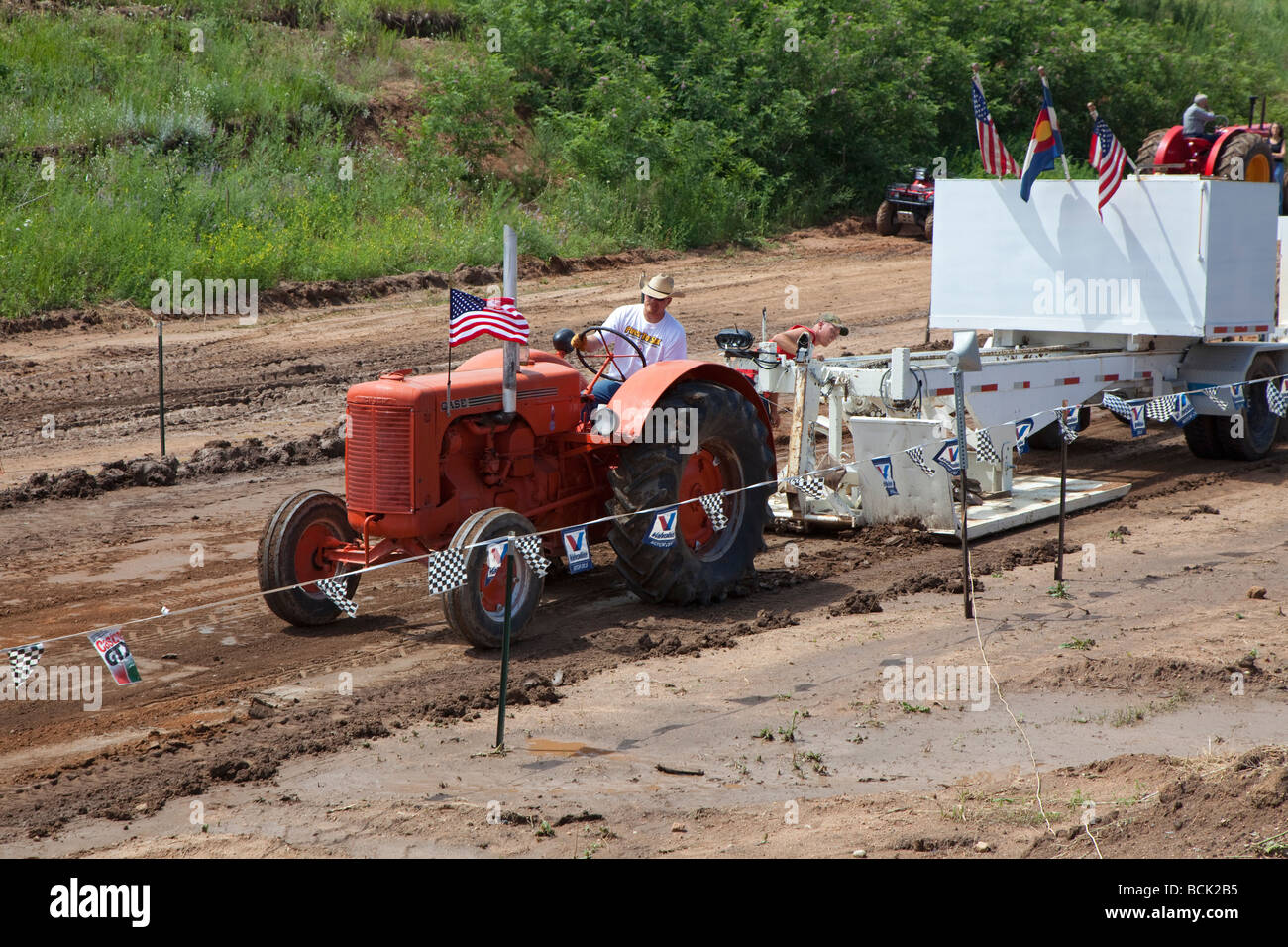 Palmer Lake Colorado The annual tractor pulling contest among ranchers on the high plains south of Denver - Stock Image