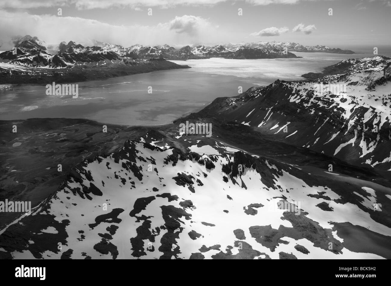 Antarctica, South Georgia Island, Aerial of Cumberland East Bay from Barff Peninsula - Stock Image