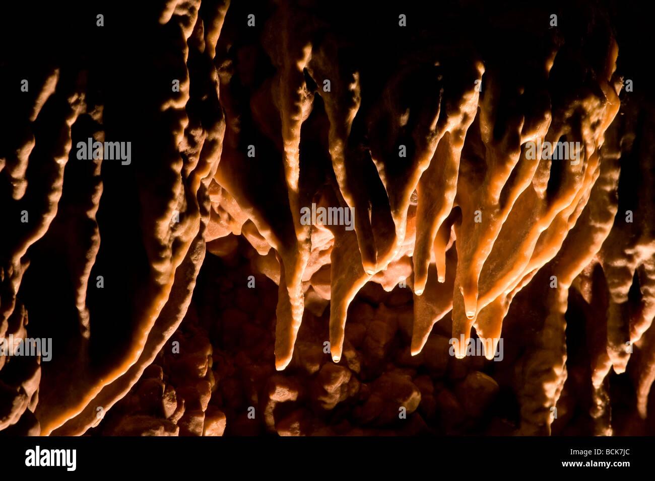 water on stalactites, Jewel Cave National Monument, South Dakota - Stock Image