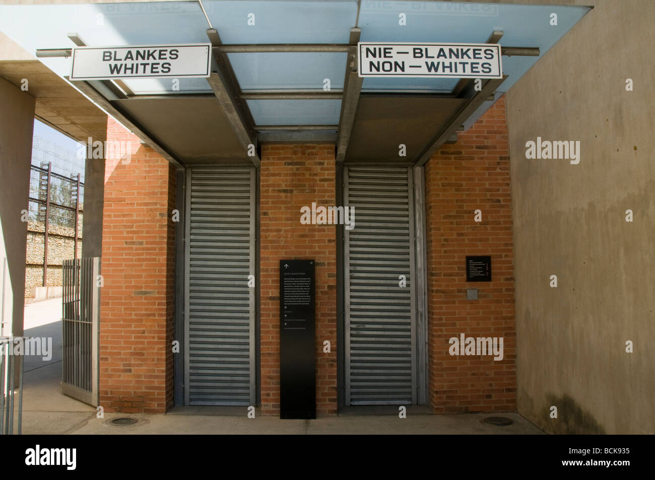 display of how life was at the Apartheid Museum in Johannesburg South Africa - Stock Image