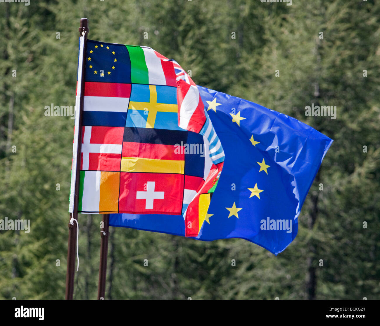 Two European Union Flags showing National Flags and Stars, Italy Stock Photo