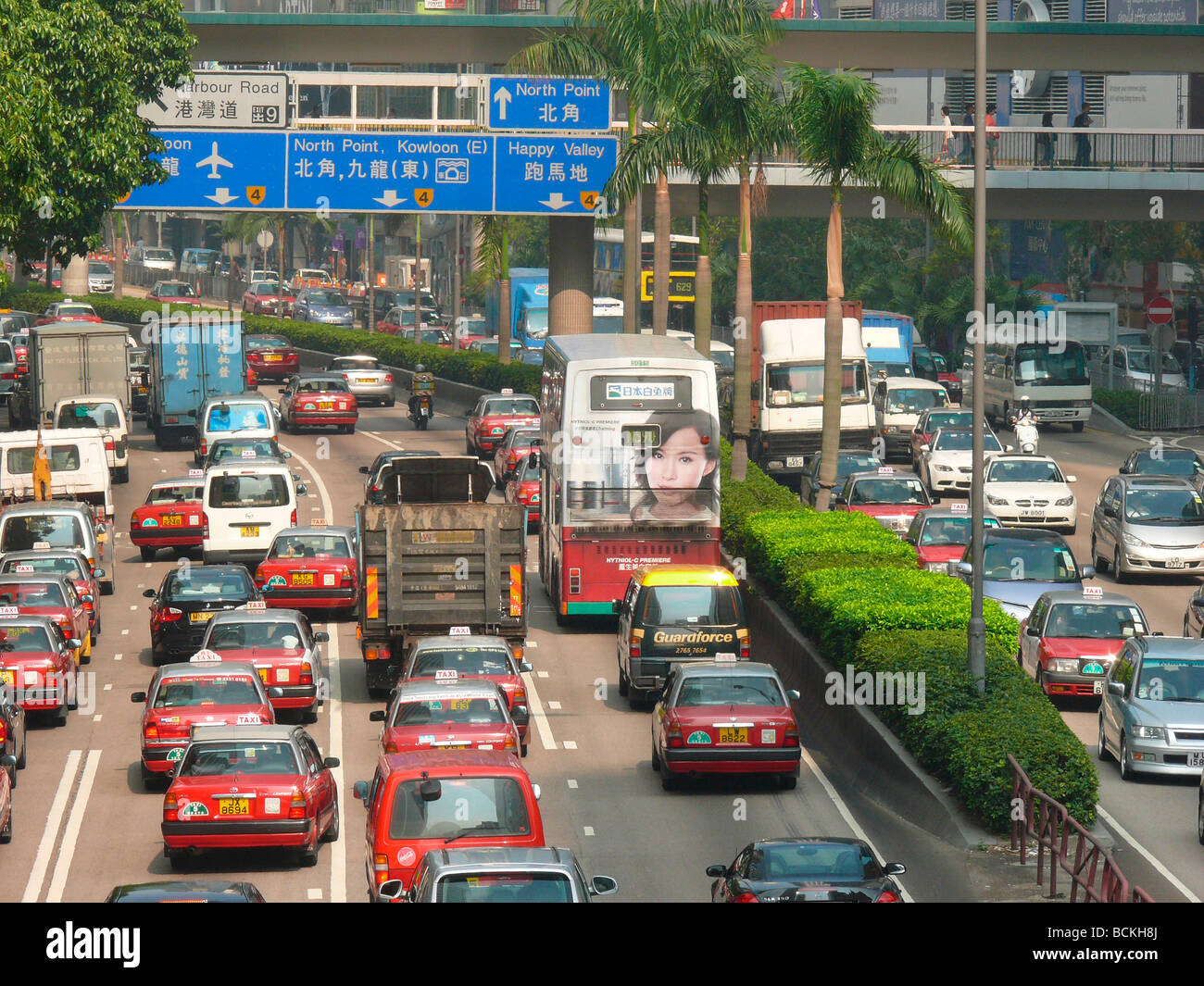 China Hong Kong traffic scene in Wan Chai district - Stock Image