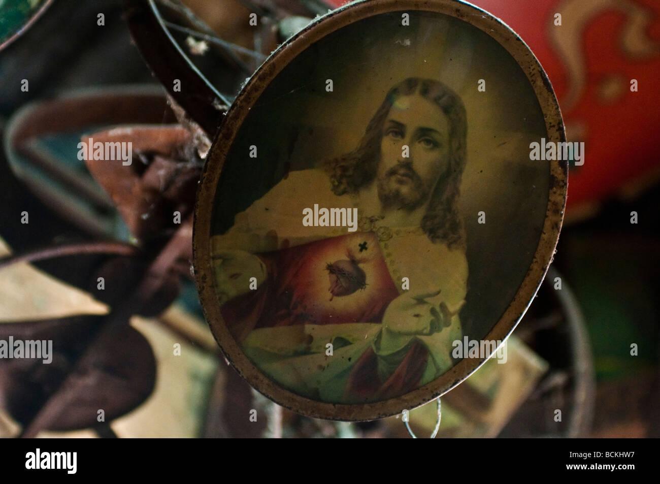 Image of Jesus exhibit in the museum of Nimbin NSW Australia - Stock Image