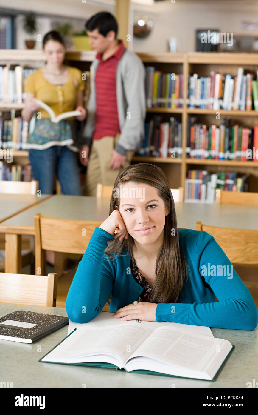 School students in library - Stock Image