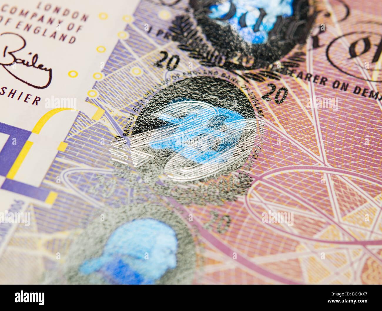 Close up of twenty pound note - Stock Image