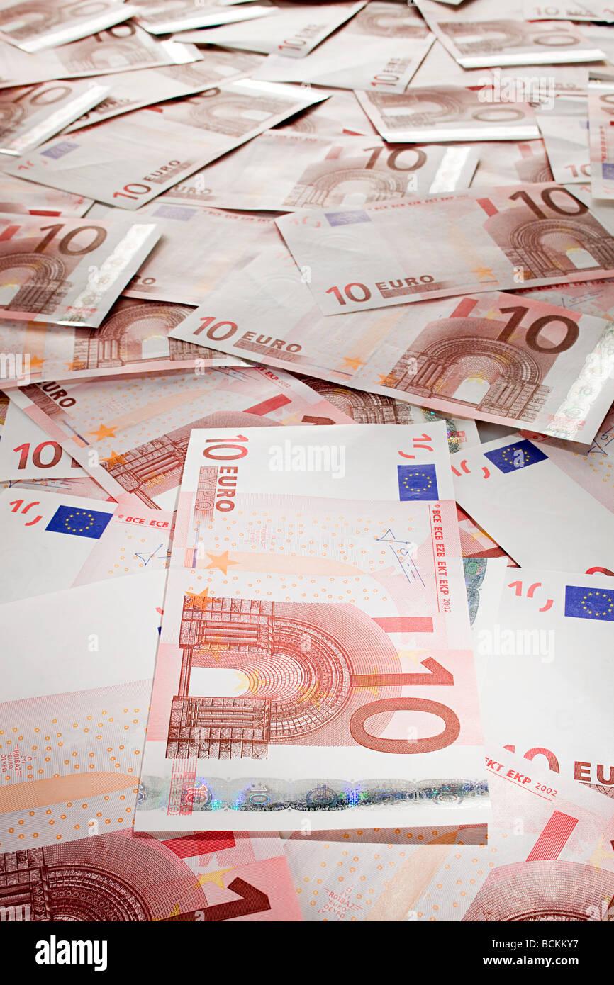 Ten euro banknotes - Stock Image