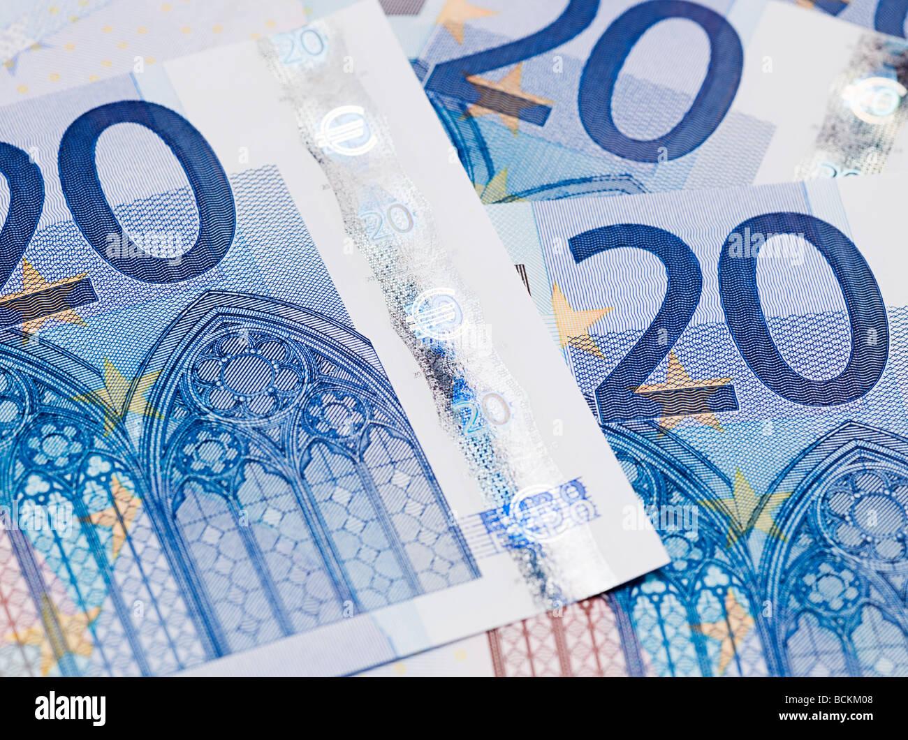 Twenty euro banknotes - Stock Image