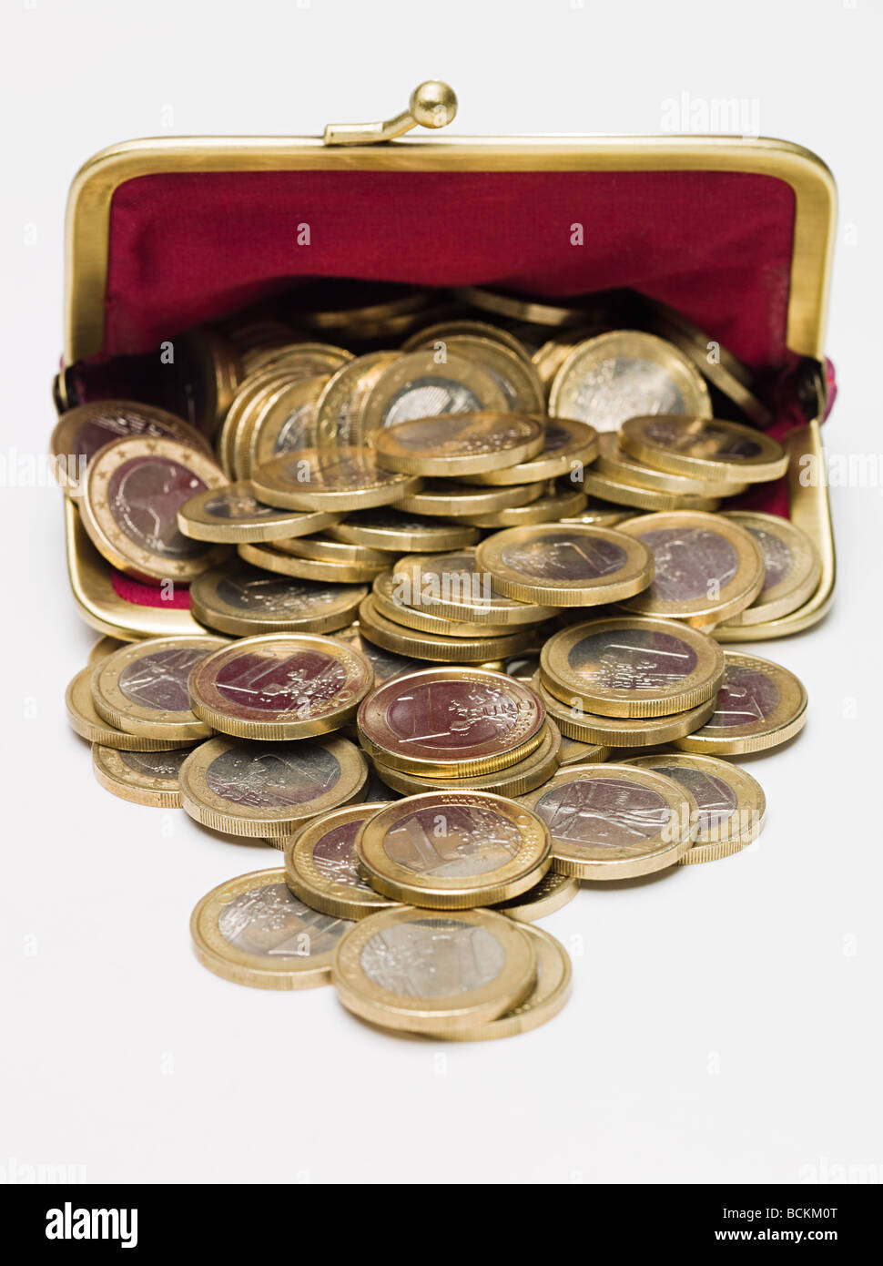 Euro coins in a purse - Stock Image