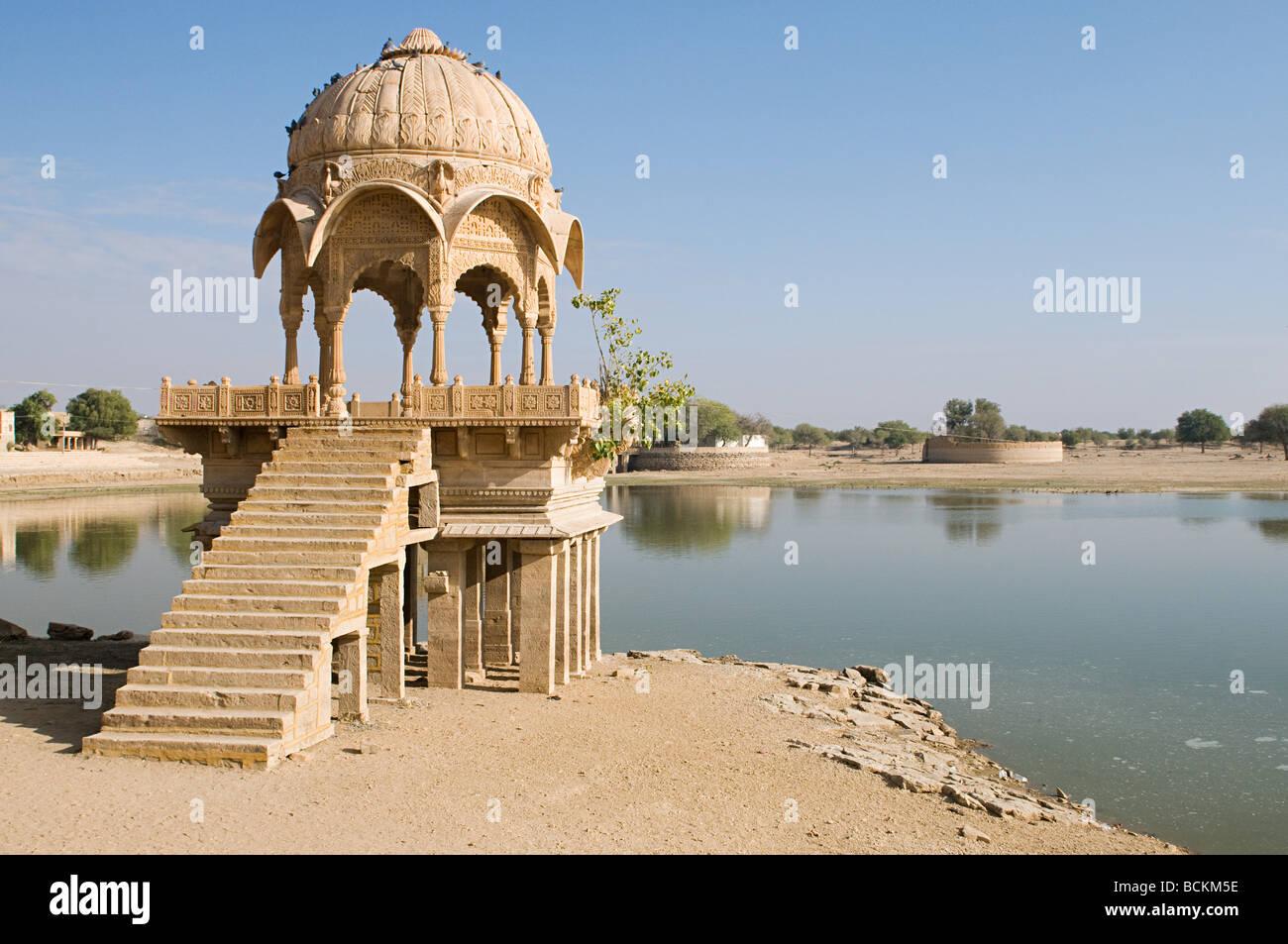 Stone tower by gadi sagar lake - Stock Image