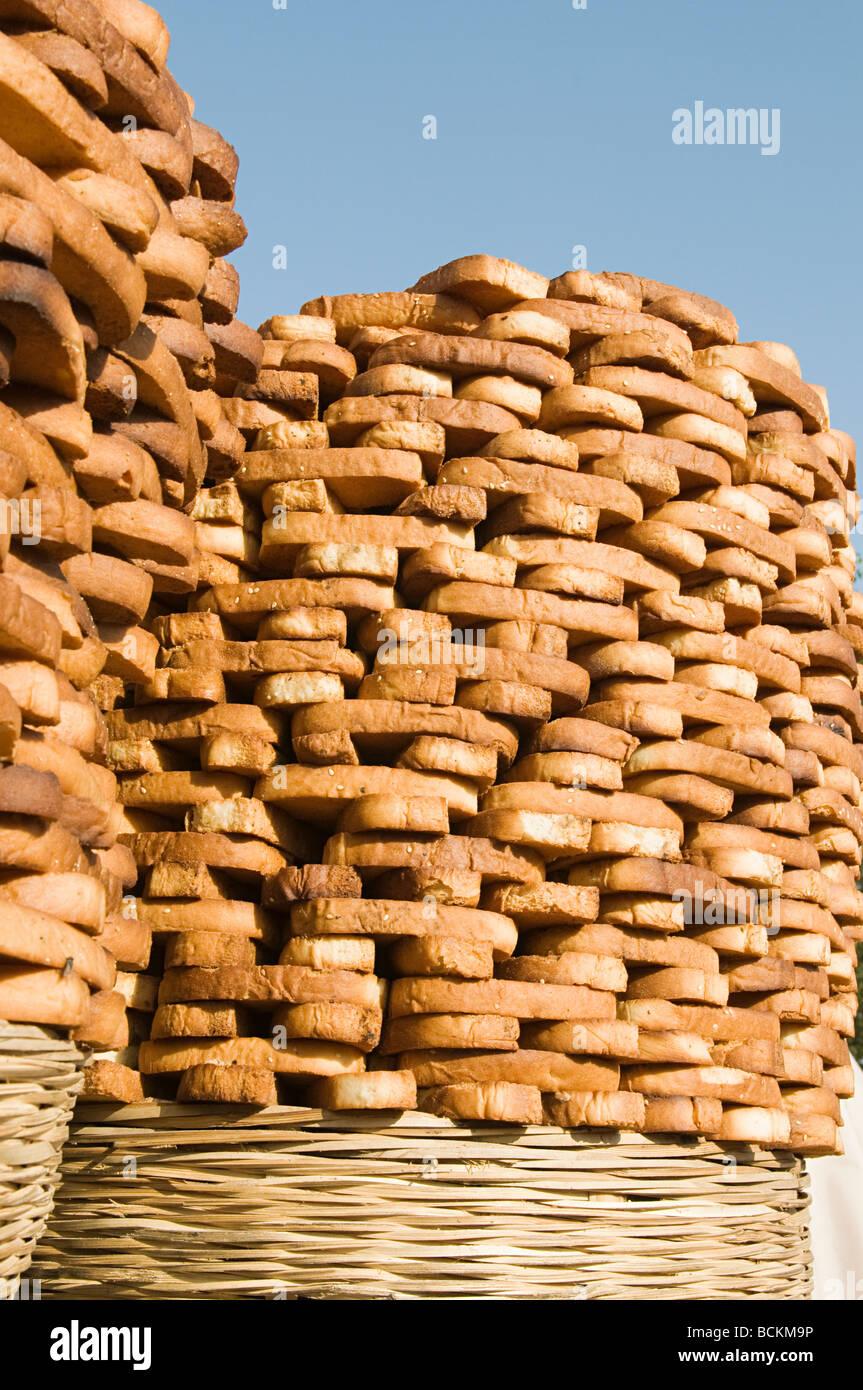 Bread baskets in market - Stock Image